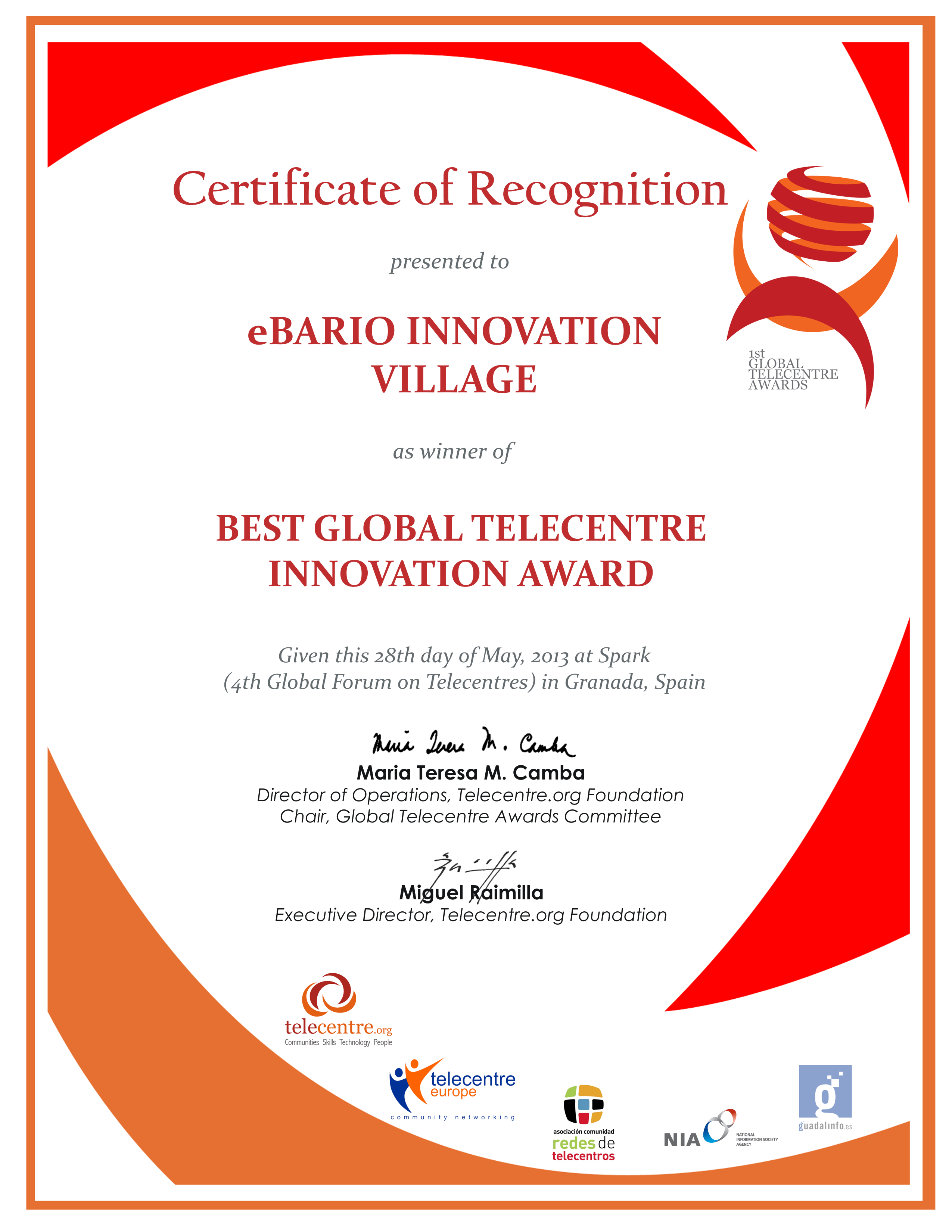 Certificate Of Recognition Ebario Innovation Village Best Global